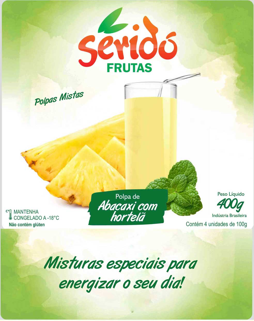Polpa Abacaxi com Hortelã - Polpa Mista
